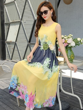 Ericdress Floral Ankle-Length Pullover Maxi Dress