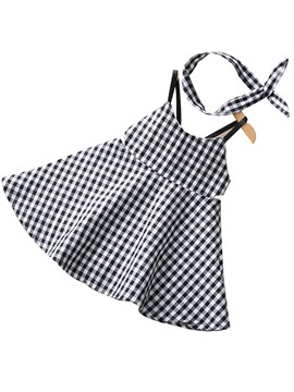 Ericdress Spaghetti Strap Plaid Baby Girl's Summer Dress