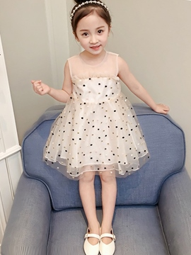 Ericdress Print See-Through Polka Dots Girl's Princess Ball Gown