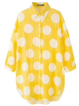 Ericdress Polka Dots Asymmetric Single-Breasted Batwing Sleeve Blouse