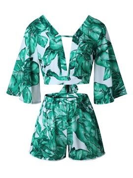Ericdress Floral T-Shirt and Shorts Women's Suit