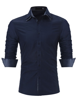 Ericdress Plain Slim Fit Single Breasted Mens Dress Shirt