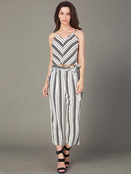 Ericdress Stripe Vest and Pants Women's 2-Piece Set