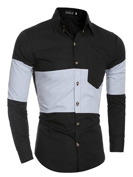 Ericdress Patchwork Single-Breasted Long Sleeve Men's Shirt