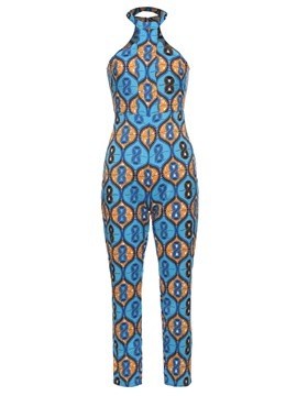 Ericdress Backless Geometric Print Women's Jumpsuit