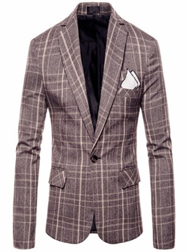 Ericdress Plaid Color Block One Button Mens Loose Jacket Blazer