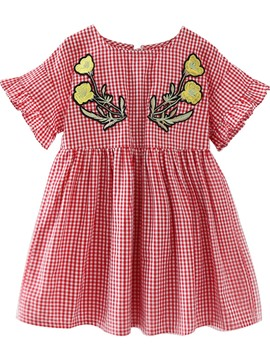 Ericdress Embroidery Plaid Floral Print Girl's Summer Dress