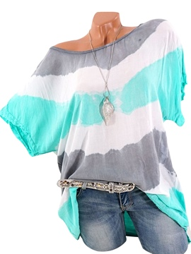 Ericdress Stripe Loose Scoop Mid-Length Short Sleeve Blouse
