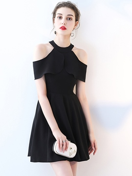 Ericdress A-Line Open Shoulder Mini Black Homecoming Dress
