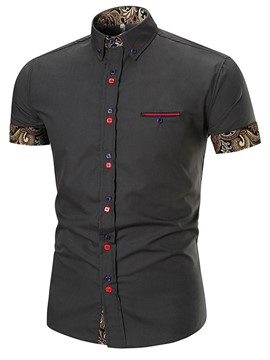 Ericdress Patchwork Short Sleeve Single-Breasted Men's Shirt