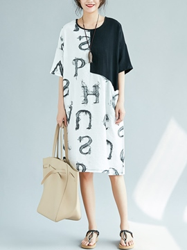 Ericdress Letter Patchwork Straight Casual Dress