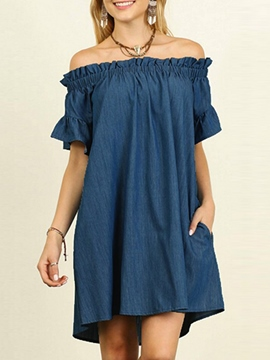 Ericdress Stringy Selvedge Off-The-Shoulder A-Line Dress