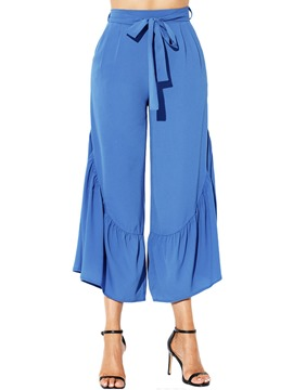 Ericdress Ankle Length Ruffles Lace-Up Women's Pants