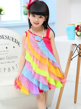 Ericdress Color Block Mesh Sleeveless Girl's Beach Dress