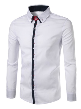 Ericdress Palin Single Breasted Slim Fit Mens Dress Shirts