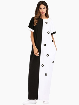 Ericdress Patchwork Pullover Short Sleeve Maxi Dress