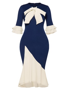 Ericdress Bow Ruffle Sleeve Color Block Mermaid Sheath Dress