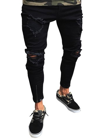 Men's Clothing Black Ripped Skinny Jeans