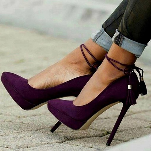 Ericdress Plain Lace-Up Pointed Toe Stiletto Heel Pumps