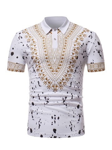 Ericdress Print Dashiki Loose Mens Short Sleeve Polo T Shirt