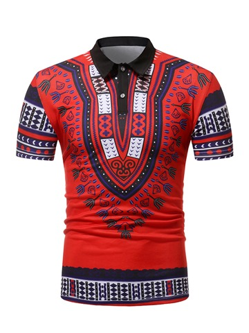 Ericdress Dashiki African Print Mens Loose POLO T Shirt