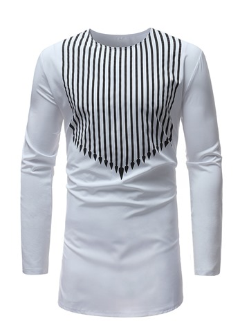 Ericdress Stripe Plain Mens Scoop Long Sleeve T Shirt