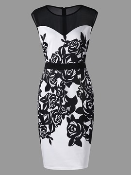 Ericdress Scoop Print Polyester Floral Women's Bodycon Dress