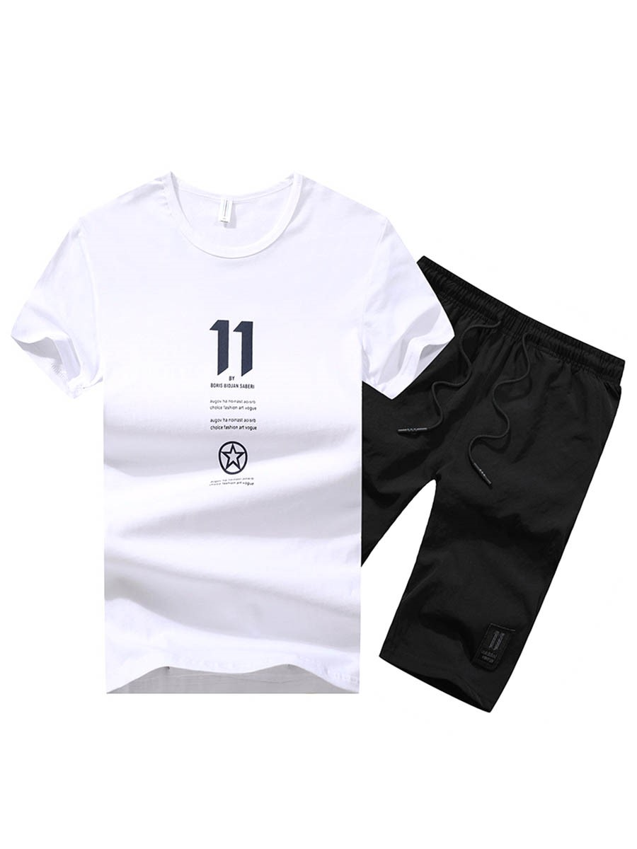 Ericdress Letter Print T Shirt Shorts Mens Summer Sports Suits