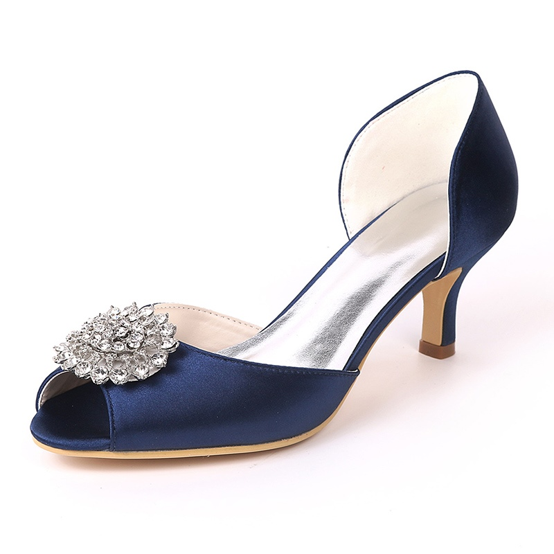Ericdress Rhinestone Peep Toe Kitten Heel Wedding Shoes