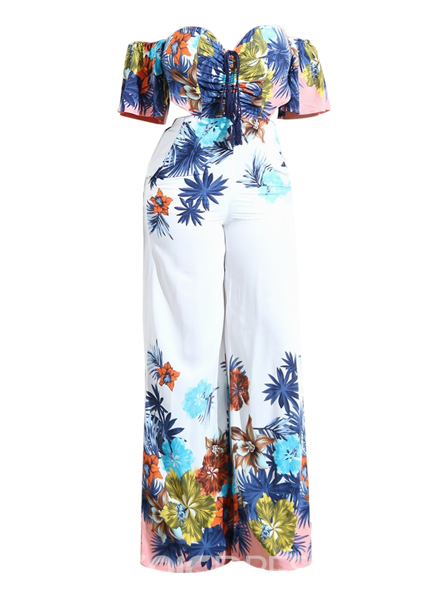 Ericdress Loose Floral Wide Leg Women's Jumpsuit