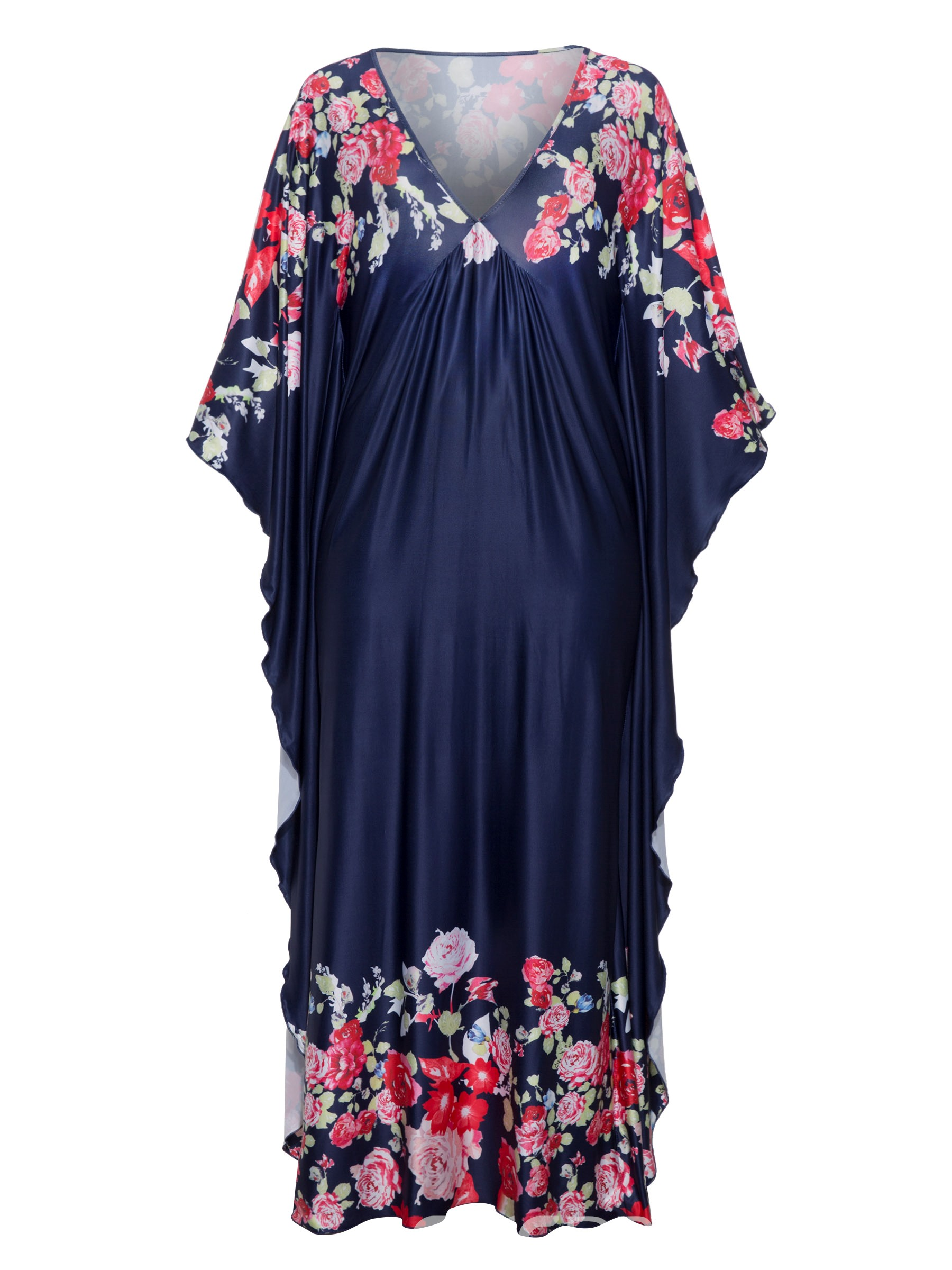 Ericdress Batwing Sleeve Floral Print Straight Women's Maxi Dress