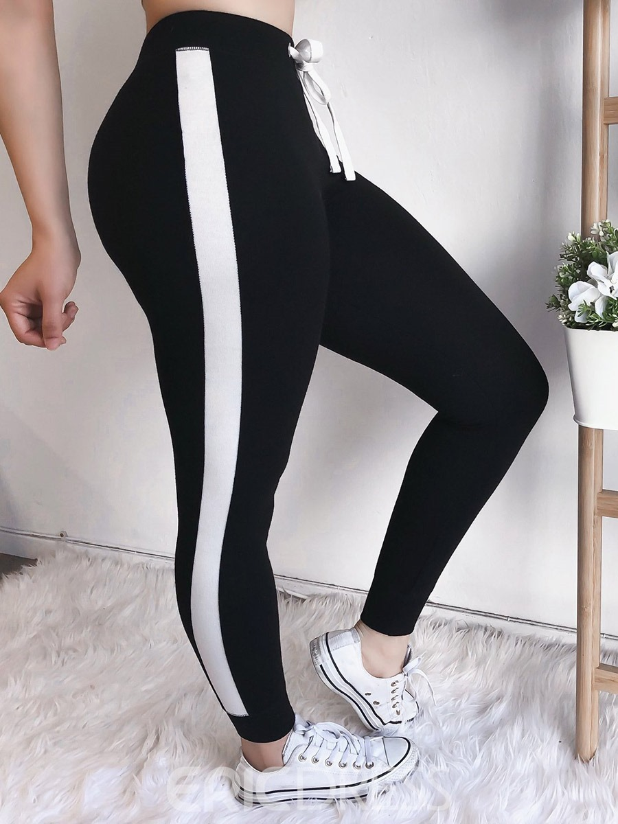 Ericdress Lace-Up Stripe Women's Leggings