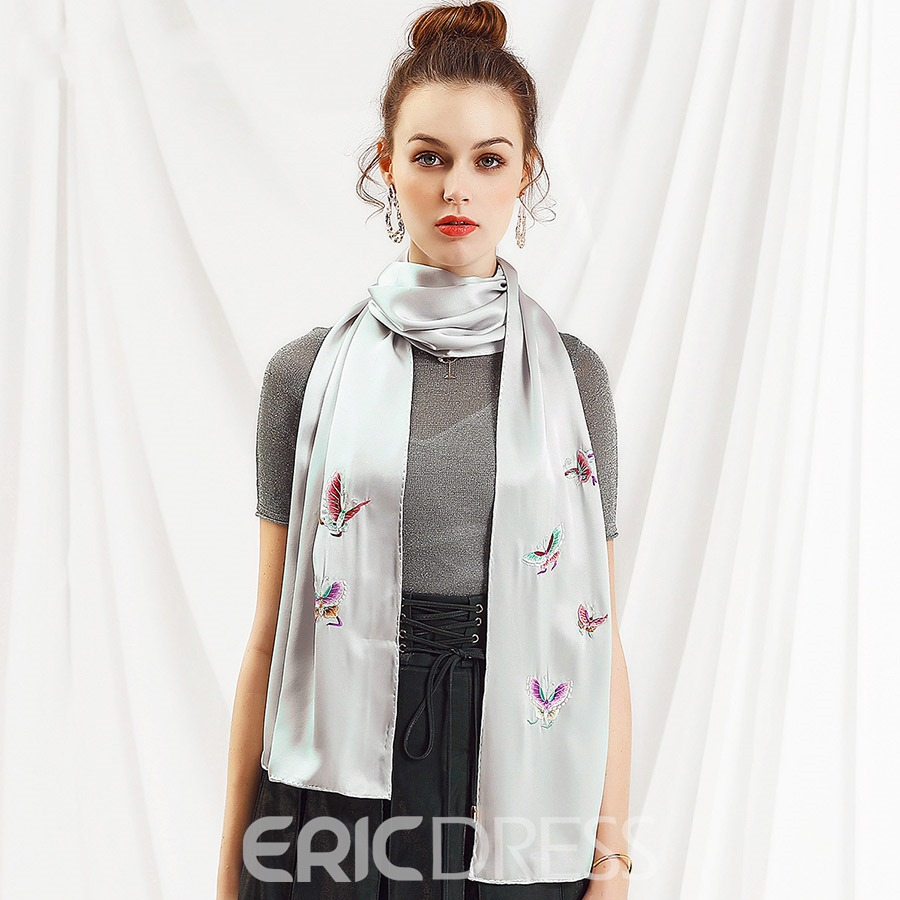 Ericdress Silk Butterfly Embroidery Rectangle Women's Scarf