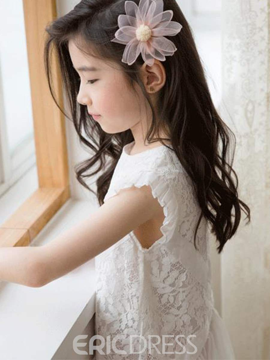 Ericdress Lace A-Line Plain Short Sleeve Girl's Princess Dress