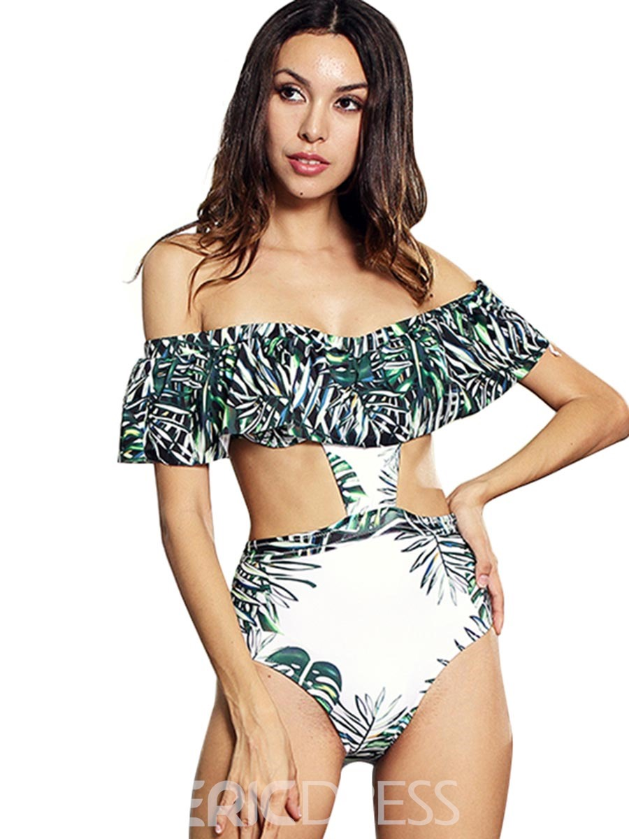 8136109b54 Ericdress Off the Shoulder Floral Green One Piece Bathing Suits(13250985)