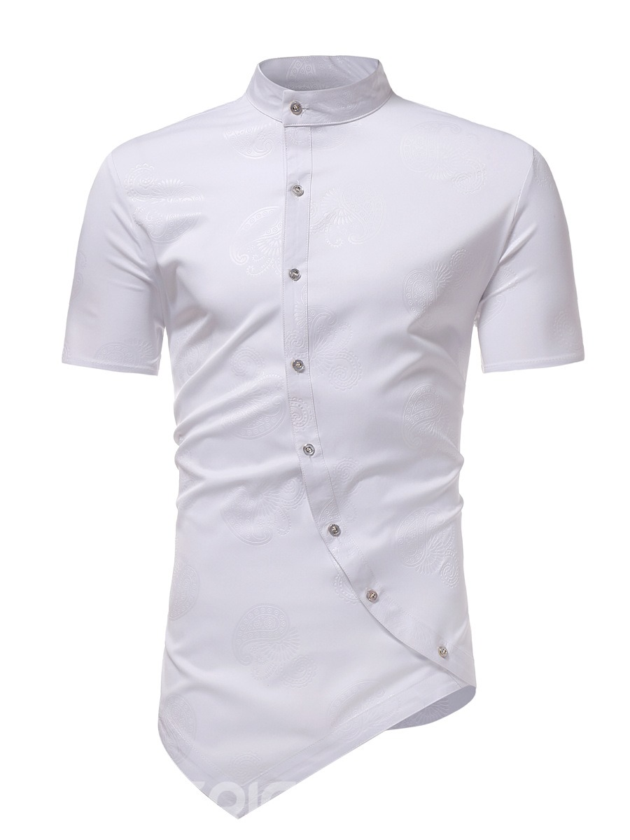 Ericdress Asymmetric Slim Fit Plain Mens Short Sleeve Shirts