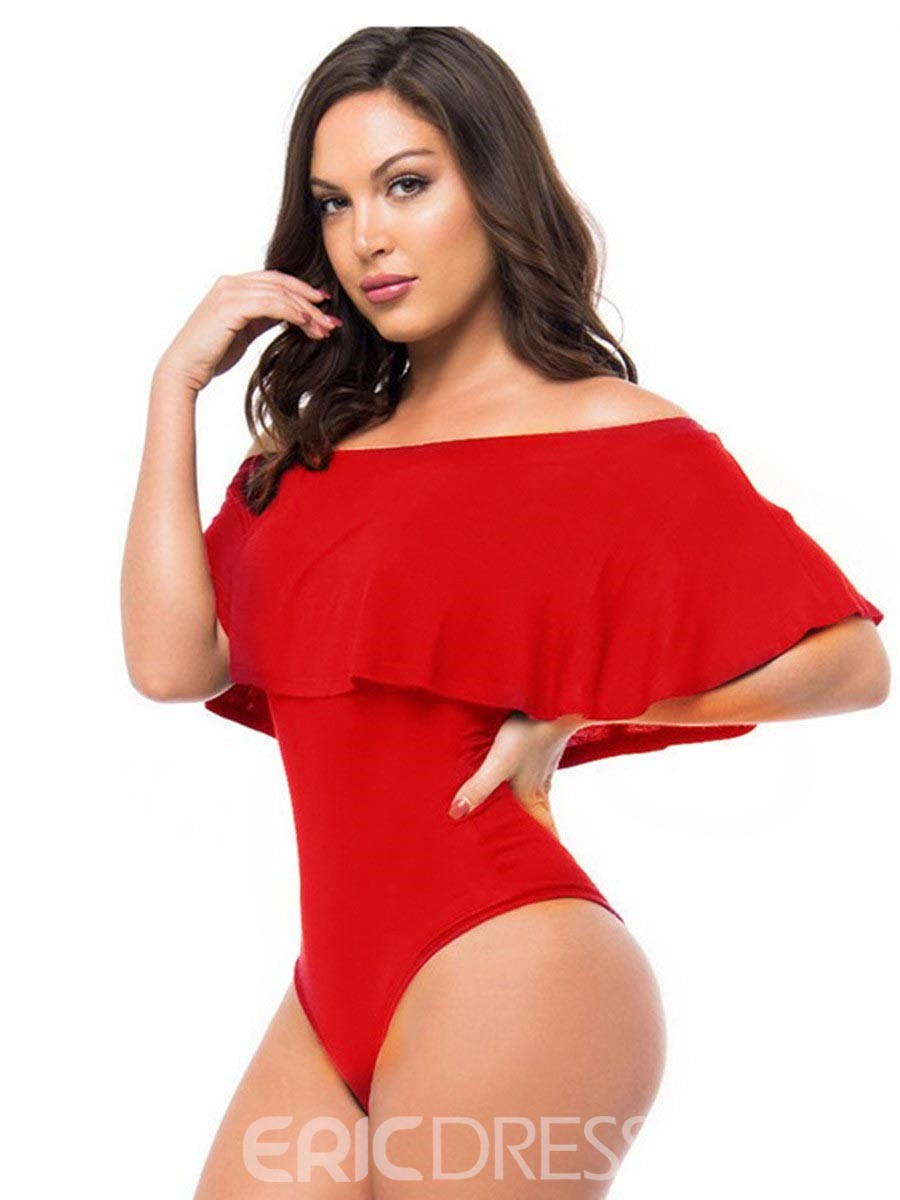 Ericdress Casual Falbala Off The Shoulder One-Piece Swimwear