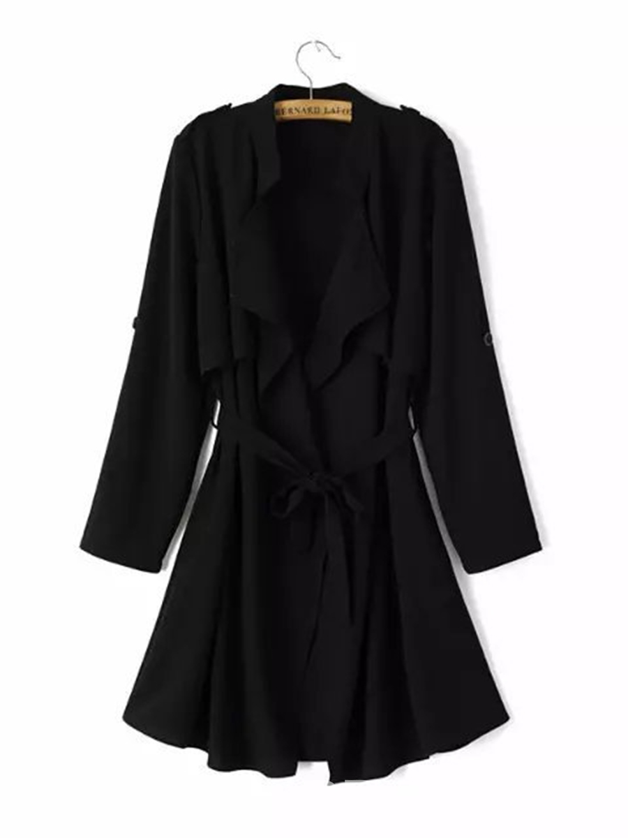 Ericdress Loose Lapel Lace-Up Thin Plain Trench Coat