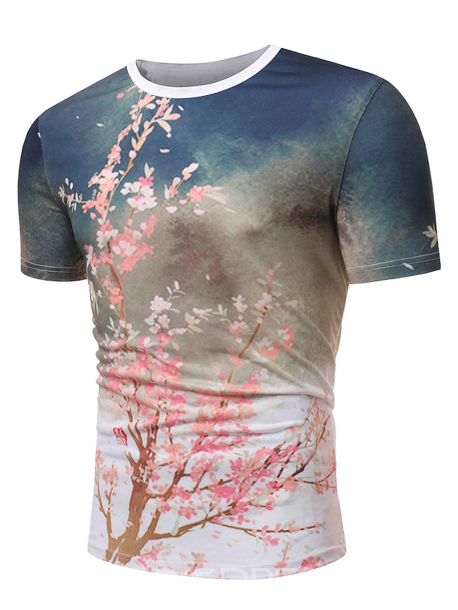 Ericdress 3D Floral Print Slim Fit Mens Scoop T Shirt