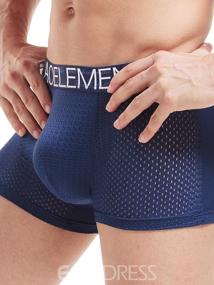 Ericdress Breathable Hollow Mesh Ice Silk Boxer Briefs for Men