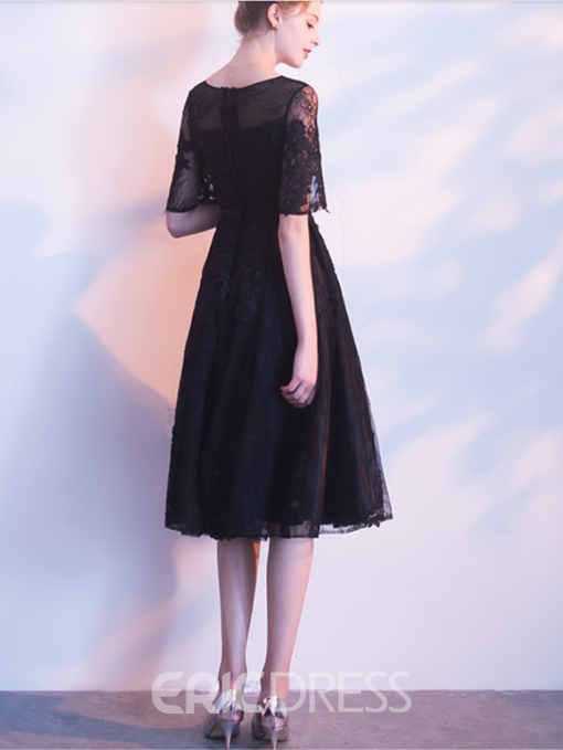 Ericdress Lace Applique Short Homecoming Party Dress With Short Sleeve