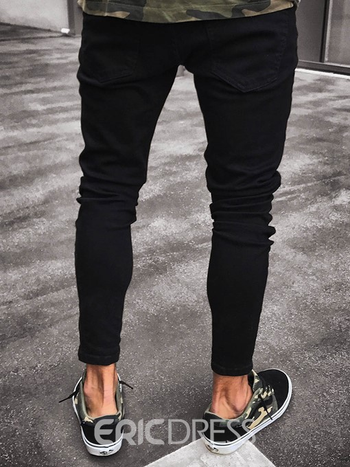 Ericdress Men's Clothing Black Ripped Skinny Jeans