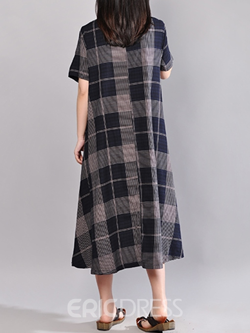 Ericdress Dark Blue Plaid Short Sleeves Casual Dress