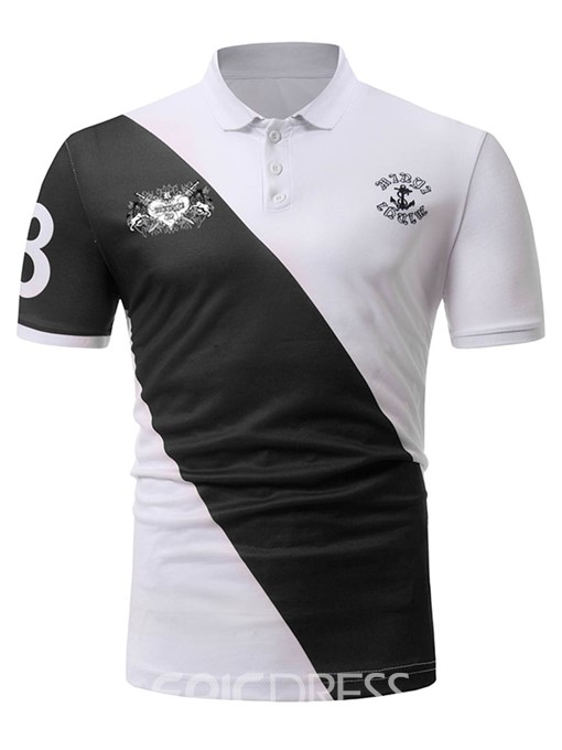 Ericdress Color Block Patchwork Print Mens POLO T Shirt