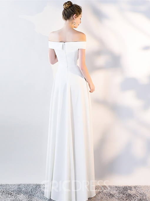Ericdress A Line Short Sleeve Off The Shoulder Ivory Prom Dress