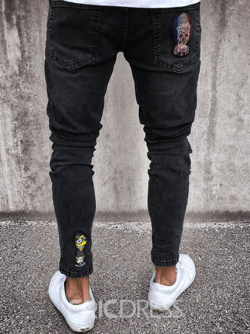 Men's Clothing Black Ripped Skinny Print Pleated Jeans