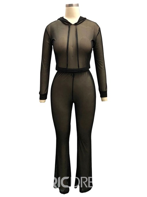 Ericdress See-Through T-Shirt and Pants Women's Two Piece Set
