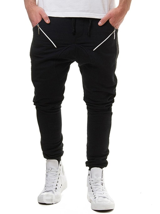 Ericdress Plain Lace Up Slim Micro-Elastic Mens Casual Sports Pants