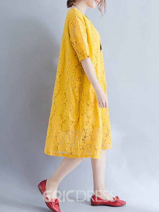 Ericdress Literary Hollow Lace Casual Dress