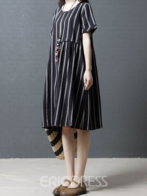 Ericdress Loose Comfortable Stripe Pullover A-Line Dress